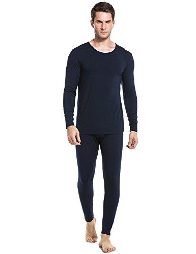 Wool Underwear Long Johns - Ekouaer Baselayer Mens Two-Piece Thermal Wear Underwear Set (Navy, Medium)