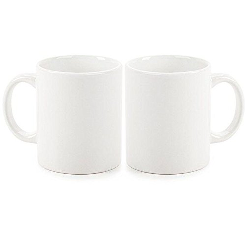 White Mug Classic (YUEMU Classic Straight Ceramic Drinking Mugs with Handle Mugs for Coffee Milk Breakfast Cups 12Oz-Pack of 2(White, 12oz))