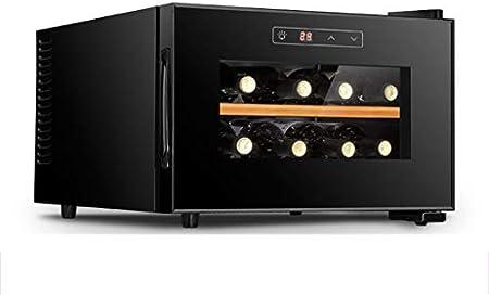 XJBHRB Nevera vinos - Vinoteca para vinos | Negro | 11-18 ° C | 8 Botellas de Capacidad |Nevera para Bebidas | Zona única [Clase energética A]