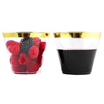 Amazon.com: Vasos de plástico dorados de 293 ml. Vasos ...