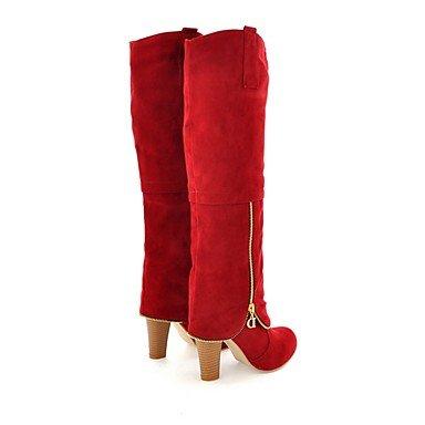 Rodilla Botas Punta Redonda De UK3 Talón EU35 Rojo Gris Zapatos RTRY Invierno Botas Vestimenta De Cremallera Mujer Botas US5 Chunky Para Casual Moda CN34 Altas Negro Polipiel Pvn6q