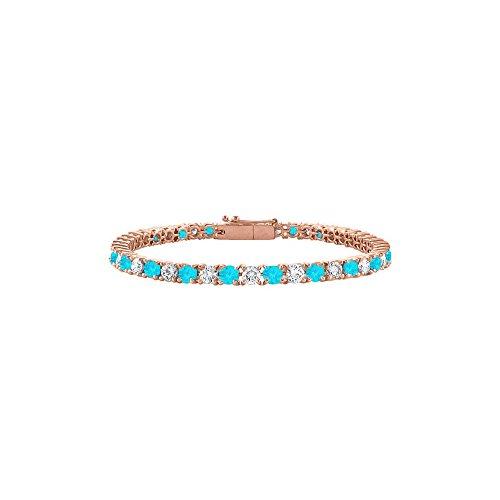 CZ and Created Blue Topaz Tennis Bracelet in 14K Rose Gold Vermeil. 3CT. TGW. 7 Inch