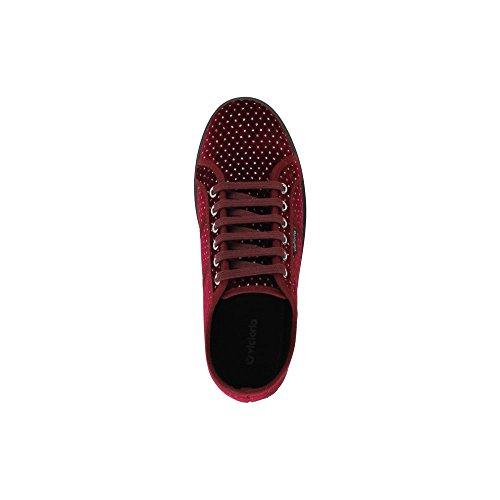 Zapatillas Victoria 092101 - Plataforma Terciopelo Puntitos Negro Burdeos