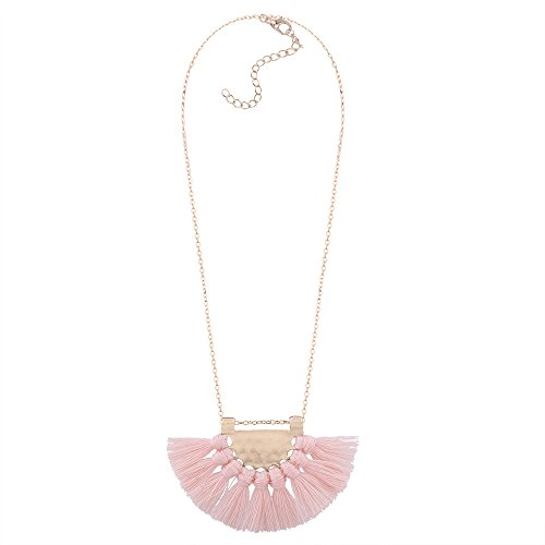 Tassel Pendant Necklace,Haluoo Bohemia Gold Plated Pendant Silky Fringe Tassle Necklace Women Geometric Sector Pendant Necklace Girls Gold Plated Long Sweater Chain Necklace Boho Jewelry (Light Pink)