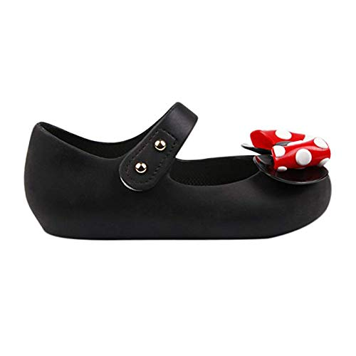 TANDEFLY Toddler Girls Mary Jane Flat Jelly Shoes White Dots Kids Sandals Comes with 1 Pair of Bows Tie