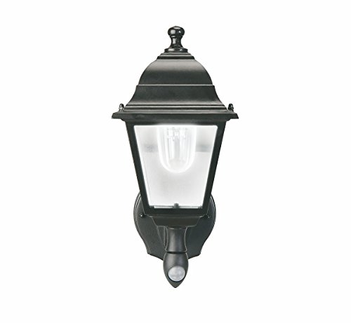 MAXSA 44219 Motion Activated Battery Powered Outdoor Wall Light, Metal and Glass, Cool White LED, Black