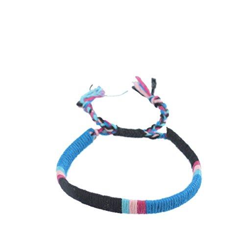 MJARTORIA Handmade Cotton Rope Braided Tribal Style Woven Friendship Surfer Bracelet Black