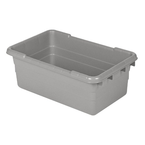 "Akro-Mils 34305 Jumbo Lug Plastic Nest and Cross Stack Tub Tote - 25"" x 16"" x 9"" - Case of 6 - Grey"