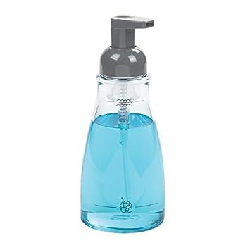 mDesign Dispensador de jabón en espuma rellenable – Dosificador de jabón de plástico resistente con válvula