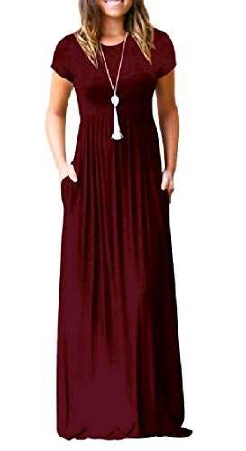 Dress Solid Wine Color Coolred Long Fashionable Pocket Short Women Red Sleeve Beach zx7BwR