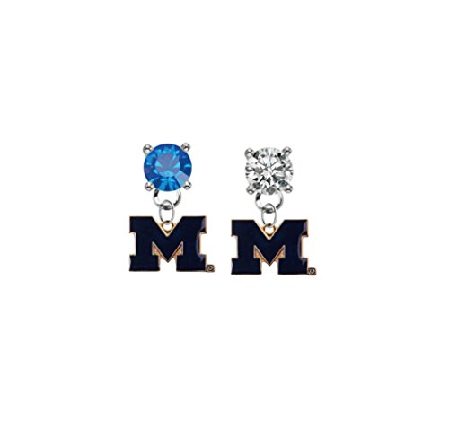 Michigan Wolverines Style 2 Blue & Clear Crystal Stud Post Dangle Earrings