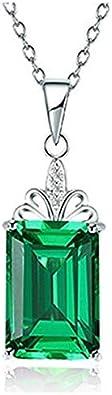 MSTOT Colgante Cuadrado Esmeralda De Japón Y Corea del Sur, Cadena De Clavícula De Piedras Preciosas con Turmalina Chapada En Oro De 18 K