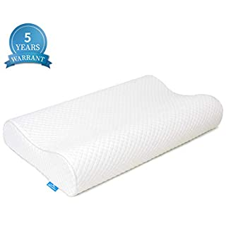 AM AEROMAX Contour Memory Foam Pillow, Neck Orthopedic Sleeping Pillows, Cervical Pillow for Neck Pain Relief with Washable Pillowcase for Side, Back and Stomach Sleepers (Firm & White)