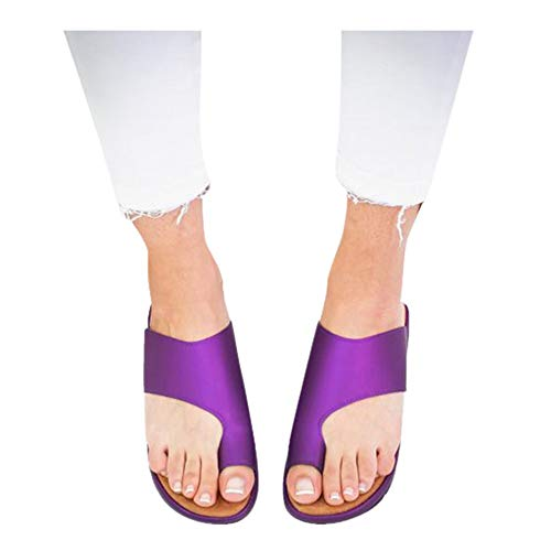 Platform Sandals for Women- 2019 New Comfort Flip Flops Wedge Shoes Flats Beach Casual Slippers (Purple, EU:39/US:7.0)