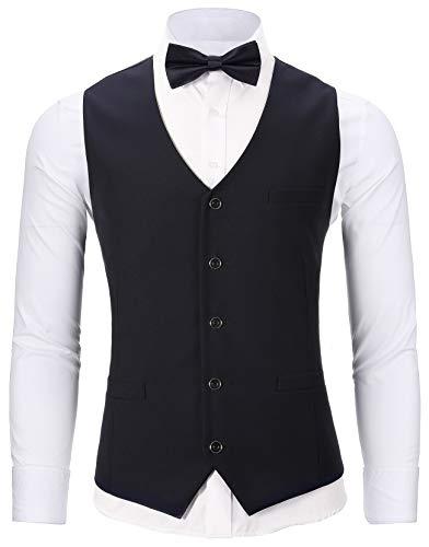 WANNEW Mens Suit Vest Tuxedo Vest for Men with Bow Tie Sets (Medium, N67 Black)