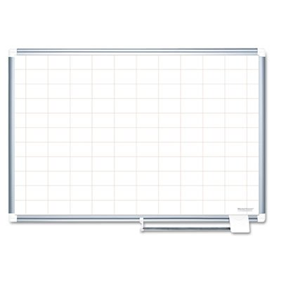 Grid Planning Board, 48x36, 2x3'' Grid, White/Silver, Sold as 1 Each