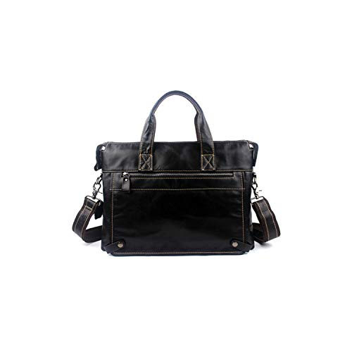 Messenger Bag Men's Leather Shoulder Bags Made of Natural Briefcases Laptop Crossbody Bag,9103U4Whitethred,39Cm