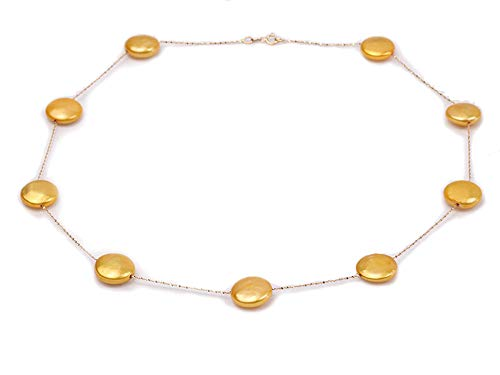14K Gold Chain 12~13mm Golden Freshwater Coin Pearl Necklace 18