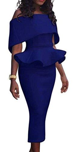 Casual Cruiize Shoulder Womens Ruffles Off Dresses Pencil Bodycon Blue Long fn5qZwAn