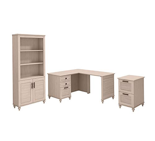 Wood & Style Furniture Dusk 51W x 57D L Shaped Desk with Bookcase and File Cabinet in Driftwood Dreams Premium Office Home Durable Strong