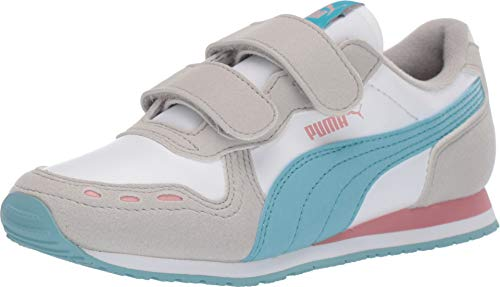 PUMA Unisex Cabana Racer Velcro Sneaker, White-Milky Blue-Gray Violet-Bridal Rose, 13.5 M US Little Kid