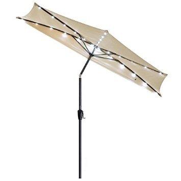 Cheap 10ft 5-rib Patio Half Wall Market Umbrella Beige w/ LED Lights