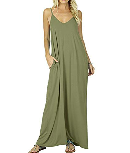 YESNO Womens Casual Adjustable Spaghetti Strap V Neck Long Maxi Summer Dress Solid A-Line Slip Beach Cover up/Pocket R02 ()