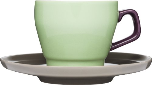 Sagaform POP Stoneware Coffee Cup and Saucer, 8-1/2-Ounce, Spring Green/Purple/Brown