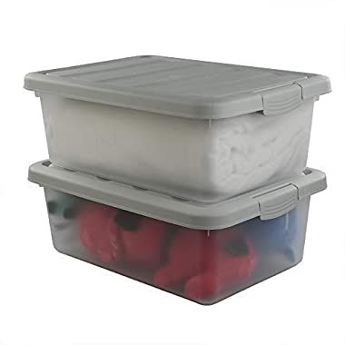 Wekiog Plastic Stackable Storage Bin Frosted Clear with A Grey Lid, Large Bin 14 Quart, 2 Packs.