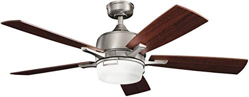 Kichler 300427AP, Leeds Antique Pewter 52 Ceiling Fan with Light Remote Control