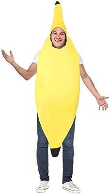 Smiffys-30468 Disfraz de banana, enterizo, color amarillo, Tamaño único (Smiffys 30468)