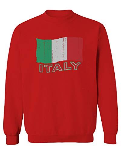 Italia Distressed Italy Flag Italian National Flag Vintage Men's Crewneck Sweatshirt (Red, Medium)
