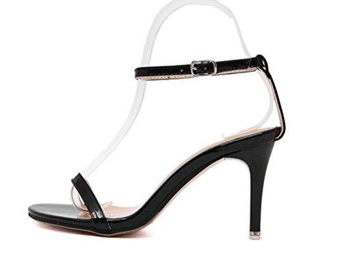 SHFANG Sandalias Mujer Palabra Banda Dew Toe Simple Talones Job Party Negro silver champagne Black