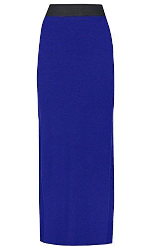 lastique Purple Maxi Hanger Uni Roi Femme Bleu Jupe Et Contraste Longue Taille FFfrqn