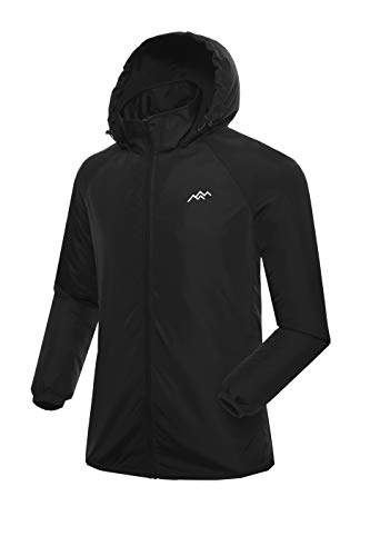 (Trailside Supply Co. Men's Water Resistant Lightweight Windbreaker Front-Zip up Hooded Jacket Black)