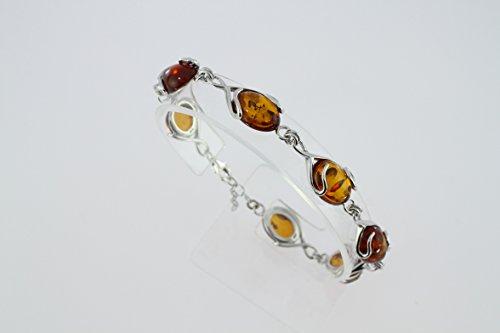Bracelet en Ambre B 126-01 - Bijoux en argent rhodié et Ambre - Diverses pierres possible - ARTIPOL