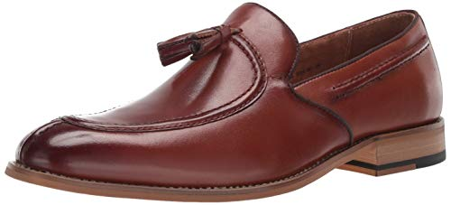 STACY ADAMS Men's Donovan Tassel Slip-On Loafer Oxford Cognac 9.5 M - Mens Tassel