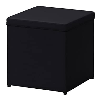 IKEA Black Storage Ottoman Footstool Bosnas Cube Square