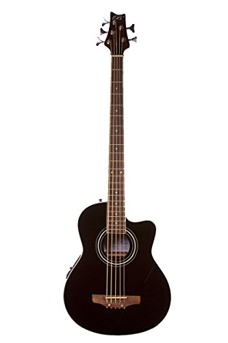 5 String Cutaway BLACK Acoustic Electric Bass with 4 EQ - & DirectlyCheap(TM) Translucent Blue Medium Guitar Pick (Cutaway Bass)