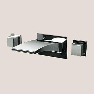 GDS Wasserhahn,Moderne Wand LED Wasserfall zWeißGriff Chrom drei Loch mit dem Keramik-Ventil, Badarmaturen
