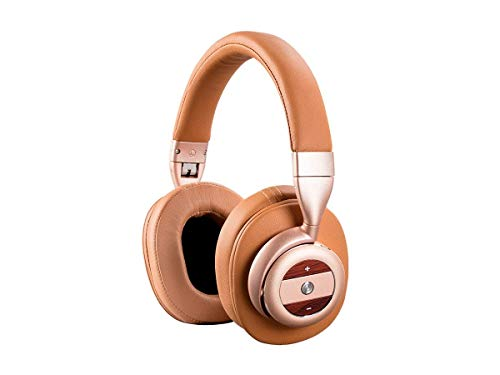 Monoprice SonicSolace Active Noise Cancelling Bluetooth Wireless Headphones - Champagne with Tan Over Ear Headphones