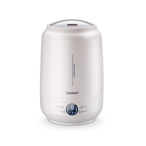 Homeleader Air Humidifier, 5L Ultrasonic Cool Mist Humidifier with Adjustable Mist Levels, LED Digital Screen and Touch Control, Humidity Adjustable and Sleep Mode