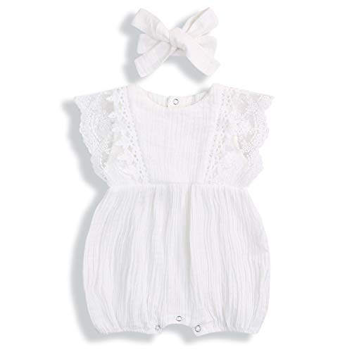 KCSLLCA Baby Girls Lace Romper Set Ruffle Sleeve Solid Color Onesie with Headband (White, 12-18 Months) ()