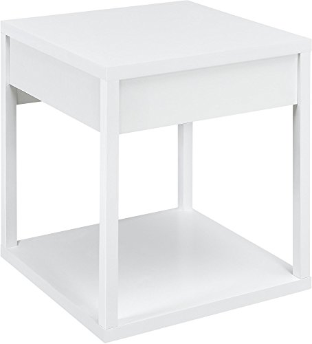 Parsons End Table with Drawer, White