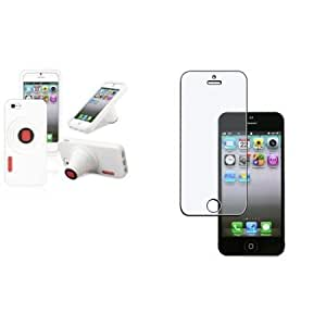 Bloutina CommonByte White Camera Silicone Skin Cover Case+Anti-Glare Screen Protector For iPhone 5