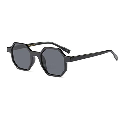 style Womens design lunettes polygone de Fuyingda irrégulière soleil Alles cadre Grau lunettes mod mode Hellschwarzes CdqSwvq