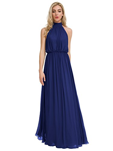 Evening Long for Alicepub Neck Dresses Bridesmaid Chiffon Women Party Blue Dress Royal High Maxi twdAq4rAX