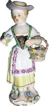 Meissen hand painted Garden Children Sculpture entitled ''Girl with Basket and Nosegay''