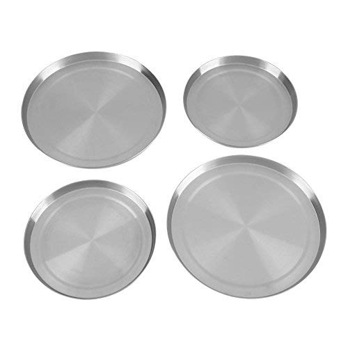 Stove Burner Covers, 4pcs Stainless Steel Kitchen Stove Top Burner Covers Cooker Protection  Pan Set -