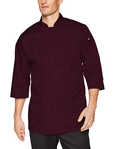 Chef Works Men's Morocco Chef Coat, Merlot, 3X-Large